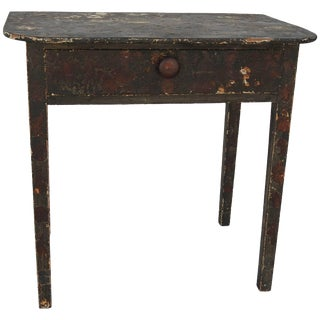 19th Century Primitive Folk Art Decoupage Work Table For Sale