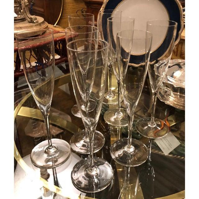 French Set of 8 Signed Baccarat Crystal White Wine Stems - Dom Perignon For Sale - Image 3 of 4