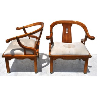 Pair of Vintage Ming Style Century Chin Hua Horseshoe Lounge Chairs Preview