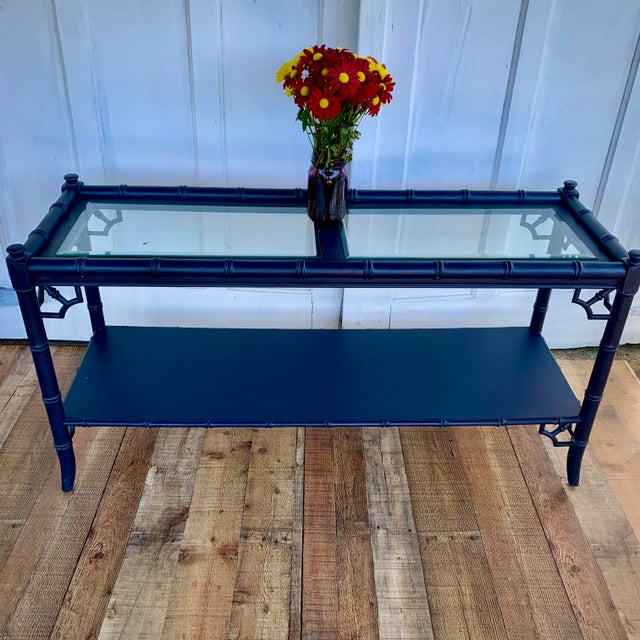 Chinoiserie Thomasville Allegro Console Sofa Table Painted Navy For Sale - Image 3 of 11