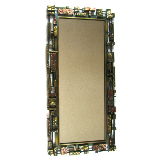Syroco Paul Evans Style Brutalist Mid-Century Modern Wall Mirror - Image 9 of 9