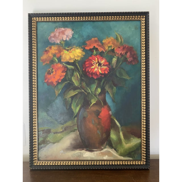 Late 20th Century Original Still Life of Flowers Oil Painting, Framed For Sale - Image 13 of 13