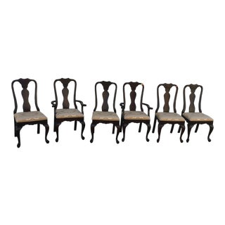 Late 20th Century Vintage Queen Anne Dinning Chairs- Set of 6 For Sale