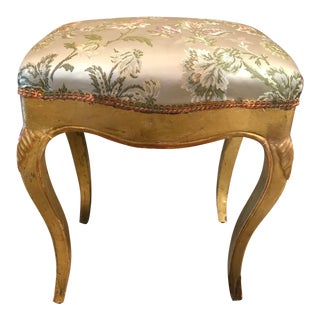 19th C. Vintage Gilt Wood Stool For Sale