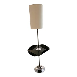 Mid-Century Smoked Lucite and Chrome Lamp For Sale