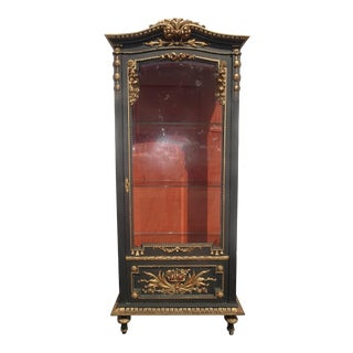 Vintage French Rococo Louis XVI Ornate Black Gold Curio Display Cabinet Vitrine For Sale