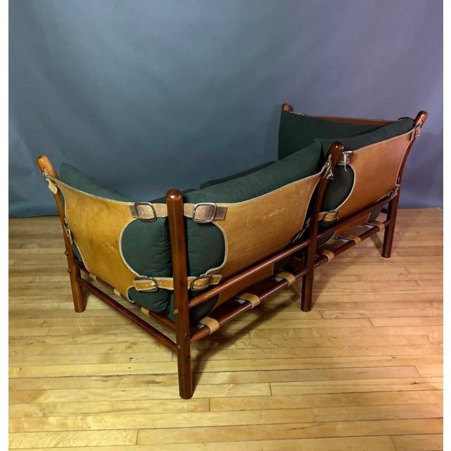 """Mid-Century Modern Arne Norell """"Ilona"""" Leather and Cotton Sofa, Sweden 1970s For Sale - Image 3 of 13"""