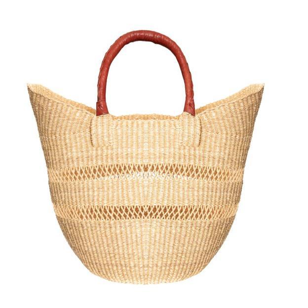 Bolga Ghana Orange Woven Basket For Sale - Image 4 of 4