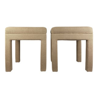1970s Parsons Style Upholstered Ottoman Benches - a Pair For Sale