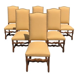 1900s Antique French Louis XIII Style Os De Mouton Solid Oak Dining Chairs - Set of 6 For Sale