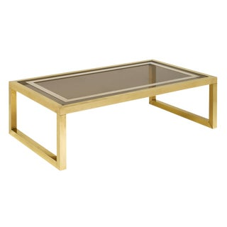 Mid-Century Coffee Table With Brass and Smoked Glass For Sale