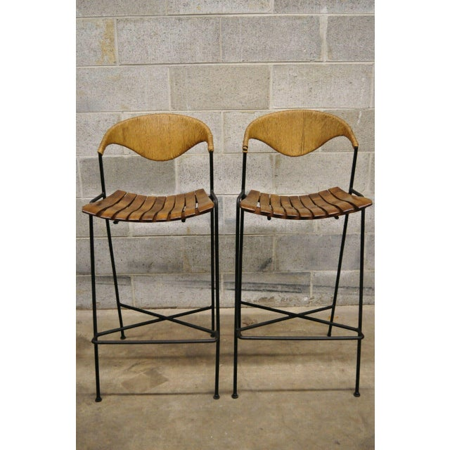 Mid Century Modern Arthur Umanoff Wrought Iron and Rattan Bar and Bar Stools- 3 Pieces For Sale - Image 12 of 13