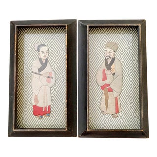 Antique Japanese Oshie Dolls Geisha & Man Silk Collage Diptych For Sale