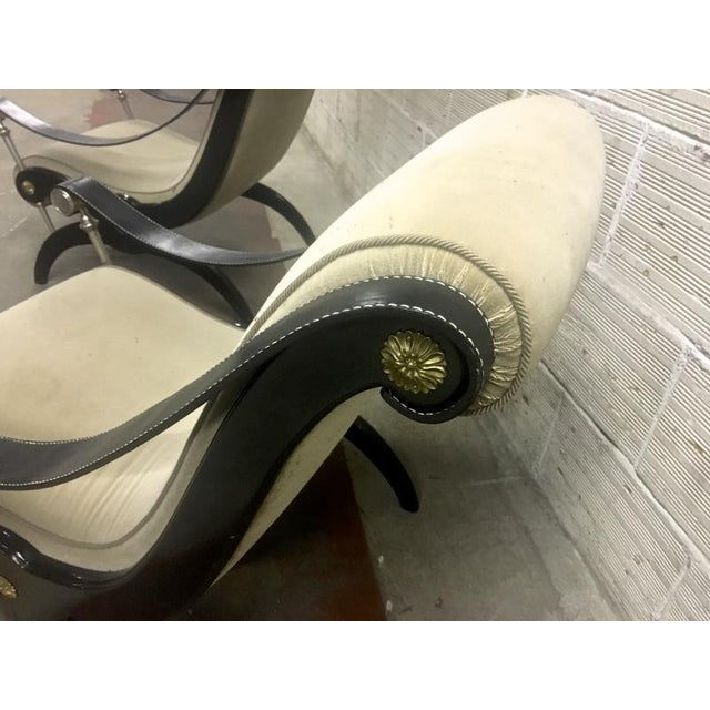 1920s Style of Andre Arbus Pair of Neo Classic Lounge Chairs For Sale - Image 5 of 7