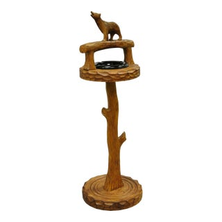 Vintage Black Forest Carved Wood Faux Bois Bear Smoking Stand Floor Ashtray For Sale
