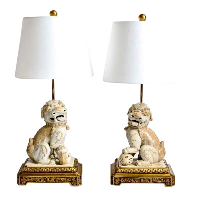 Asian Foo Dog Porcelain Table Lamps on Bronze Stands, A-Pair For Sale