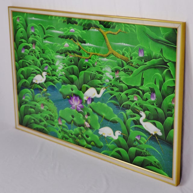 Large Art Deco Textile Art Painting Professionally Framed - Image 7 of 11