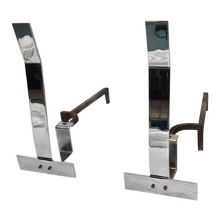 1970s Alessandro Albrizzi Modernist Chrome Andirons - a Pair For Sale