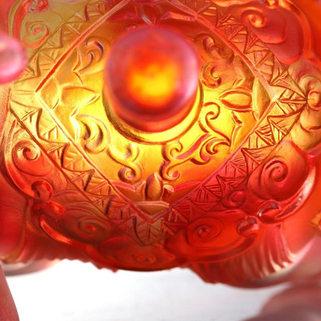 """LIULI Crystal Art Liuli Crystal Elephant """"The Auspicious Elephant"""" in Amber Gold Red Crystal Statue For Sale - Image 4 of 5"""