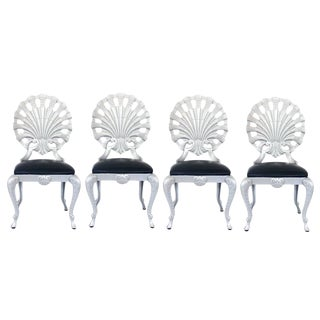 Set of Four Hollywood Regency Style Grotto Side Chairs in Silver by Molla For Sale