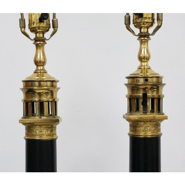 Early 18th Century French Tole-Peinte & Brass Oil Lamps - A Pair For Sale - Image 5 of 8