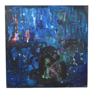 "Original Juan Guzman ""Fantasia Azul"" Abstract Modern Painting For Sale"