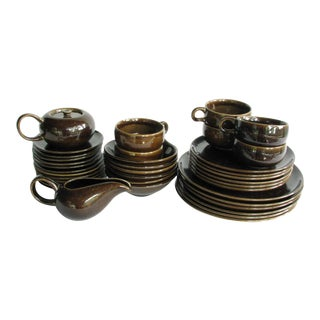Russel Wright American Modern Black Chutney Brown Dinnerware Set For Sale