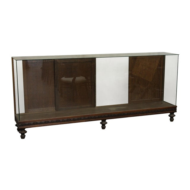Large Showcase With Carved Wood Details For Sale