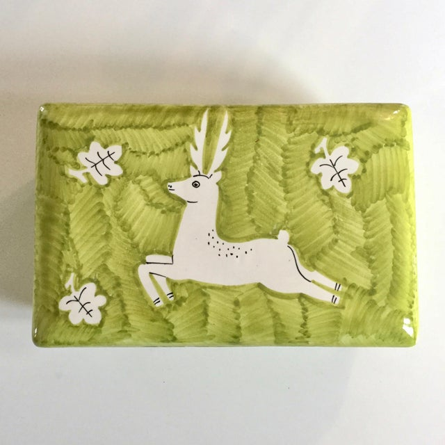 Italian Gamboni Cantagalli Style Majolica Leaping Stag Deer Motif Ceramic Lidded Box For Sale - Image 13 of 13