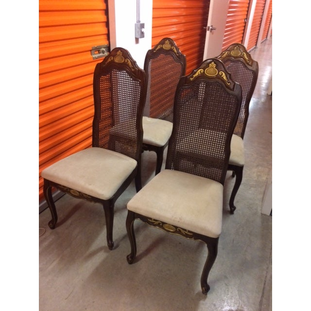 French Colonial Woven Cane Back Chairs - Set of 4 - Image 2 of 6