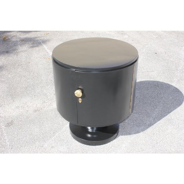 1940s French Art Deco Cylinder Dry Bar For Sale - Image 9 of 13