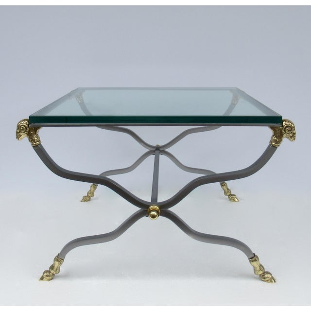 1960s C.1960s-70s Hollywood Regency Italian Brass, Steel and Glass X-Frame, Side Table, Attr. To Maison Jansen For Sale - Image 5 of 13