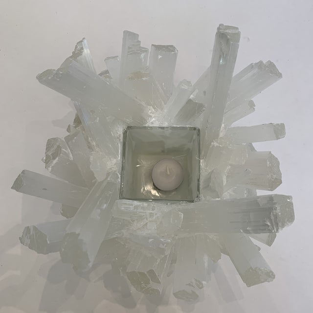 Glass Selenite Kathryn McCoy Votive (M) For Sale - Image 7 of 10