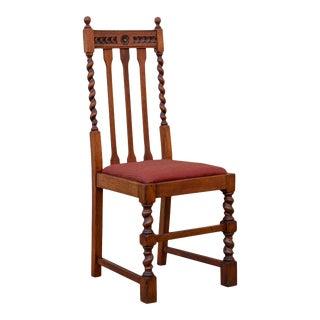 Edwardian Oak Barley Twist Side Chair For Sale