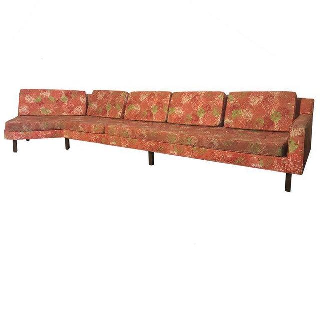 "Textile 1950s Vintage Dd & Leslie Tillett for Harvey Probber Sofa W ""Chrysanthemum"" Fabric For Sale - Image 7 of 7"