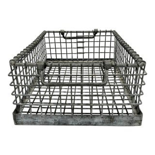 1950s Industrial Metal Crate With Double Handles For Sale