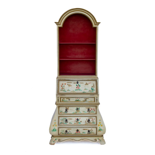 Red Cream Crackle Glaze Handpainted Chinoiserie Secretary For Sale - Image 8 of 8