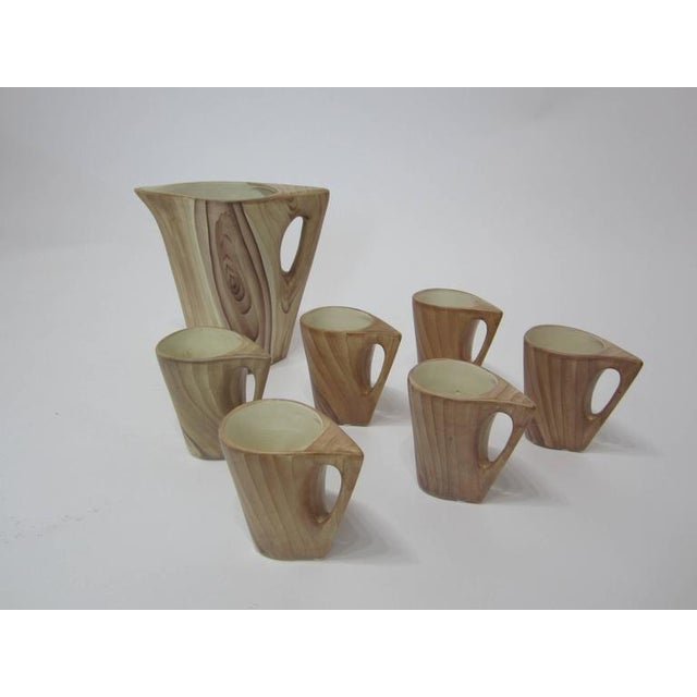 Ceramic 1950s Vallauris Faux Bois Ceramic Pitcher & Cups - Set of 7 For Sale - Image 7 of 9