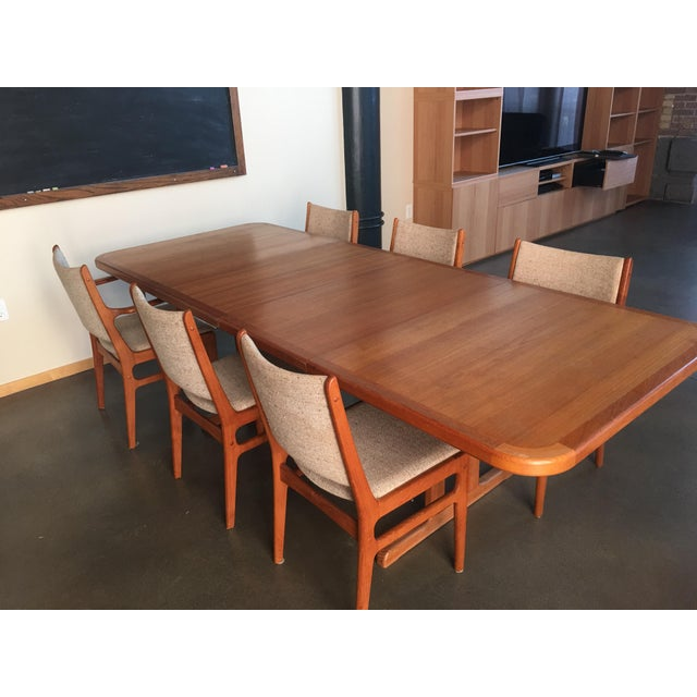 Danish Modern Danish Modern Teak Extension Table With 2 Leaves and 6 Teak and Linen Chairs For Sale - Image 3 of 9