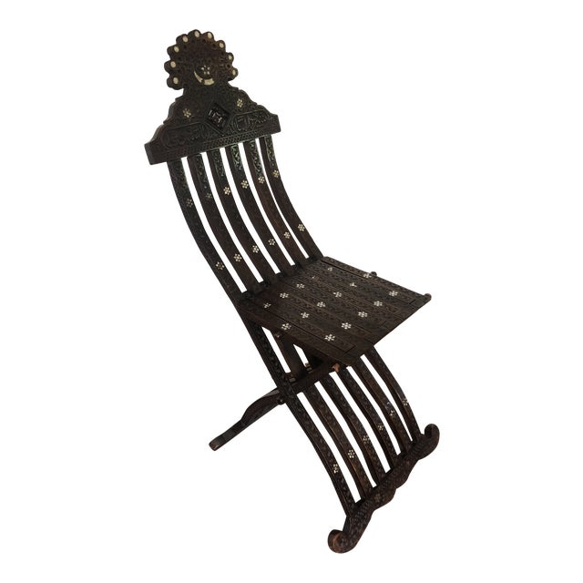 Antique Wood Moorish Syrian Folding Chair with Mother of Pearl Inlay For Sale