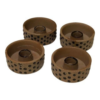 1970s Swedish Modern Stoneware Candle Holders by Karin Björquist for Gustavsberg - Set of 4 For Sale