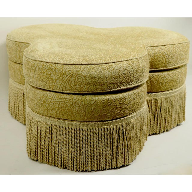 Traditional Fringed Cloverleaf Ottoman by Hickory Furniture For Sale - Image 3 of 12