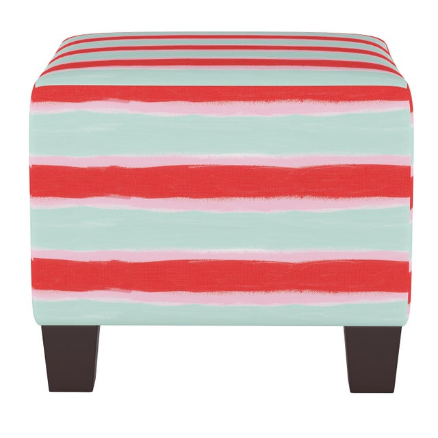 Not Yet Made - Made To Order Square Ottoman in Brush Stripe Mint Oga For Sale - Image 5 of 5