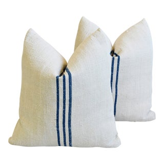 """Nave Blue & White French Grain Sack Feather/Down Pillows 19"""" Square - Pair For Sale"""