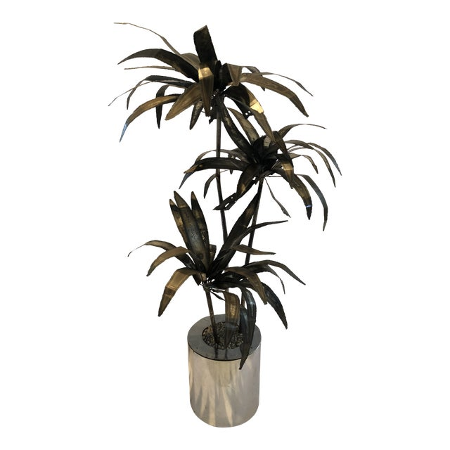 Mid-Century Brutalist Steel Cut Potted Palm Tree For Sale