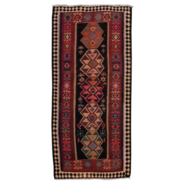 "Mid-20th Century Vintage Kilim Runner Rug 5' 1"" X 12' 2''. For Sale - Image 13 of 13"