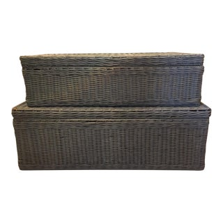 Oversized Nesting Dusty Blue Wicker Baskets - a Pair