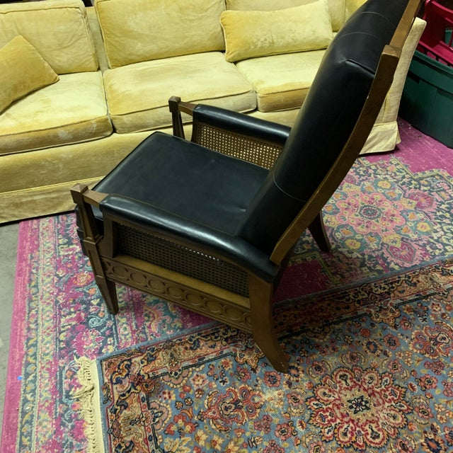 1970s Italian Provincial Burris Black Naugahyde and Caned Arm Recliner For Sale - Image 4 of 12