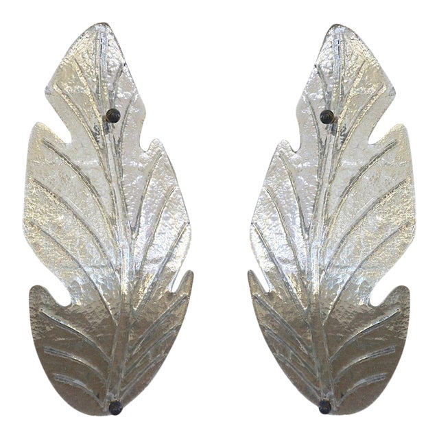 1980 Italian Vintage Nickel Pair of Tall Silver Color Murano Glass Leaf Sconces For Sale
