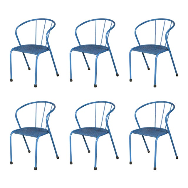 French Blue Metal Side Chairs - Set of 6 - Image 1 of 6